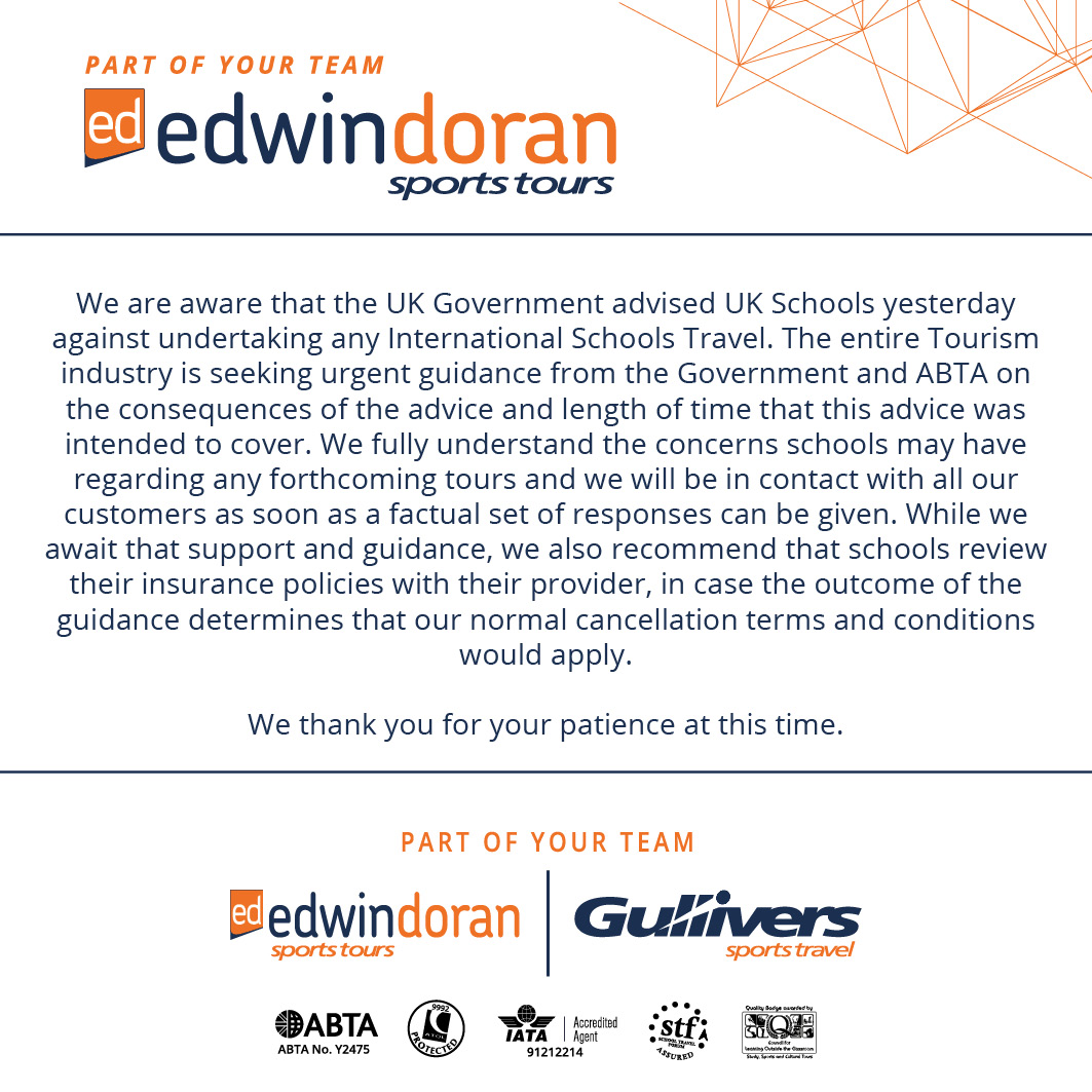 Edwin Doran Sports Tours Statement: https://t.co/FXitICQmMw