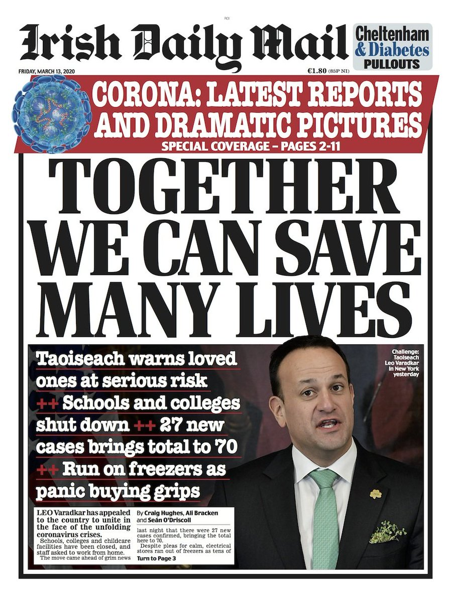 It's always interesting to compare UK and Irish editions of the same paper. The difference in approaches here couldn't be more stark. The Irish government are doing the right thing #Covid_19 #Coronavirusireland #covid19UK cc @SimonHarrisTD