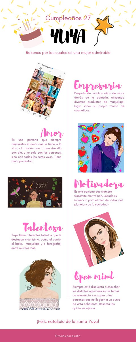 Decidí hacer una infografía sobre algunas de las razones por las que @yuyacst es una mujer admirable, obviamente me faltaron más, pero quise hacer algo especial para esté año. #Felices27Yuya
