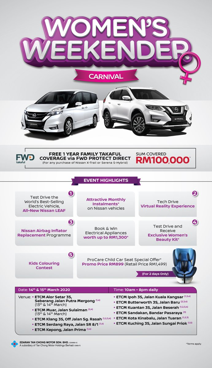 Missed out on our Women's Weekender Carnival this past weekend? No worries. Come join the fun this coming weekend, happening at even more Nissan showrooms nationwide!  Get your Women's Beauty Kit* for FREE. *While stocks last.   #nissanmalaysia #InternationalWomensDay2020 https://t.co/p0RM6pS985