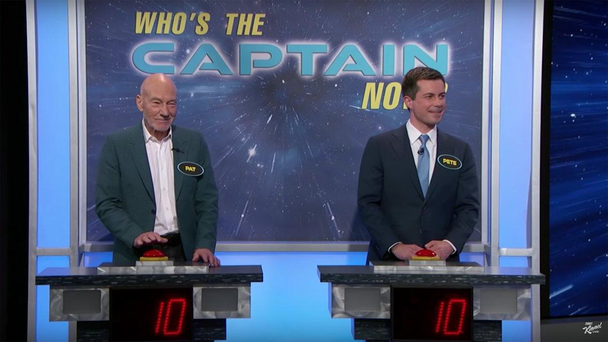 Sir Patrick Stewart takes on superfan Pete Buttigieg in a surreal 'Star Trek' quiz