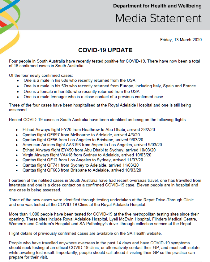 Sa Health On Twitter South Australian Covid 19 Update 13 3 20 For The Latest Travel Advice Please Visit Https T Co Xizp2vvwzb For More Information Contact The Coronavirus Health Information Line On 1800 020 080 Or Go