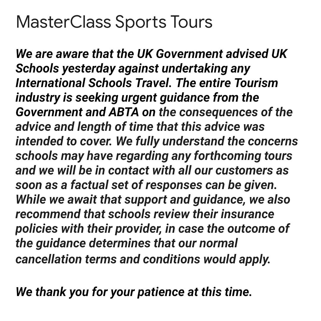 MasterClass Sports Tours Statement: https://t.co/r6Asrxx6Mr