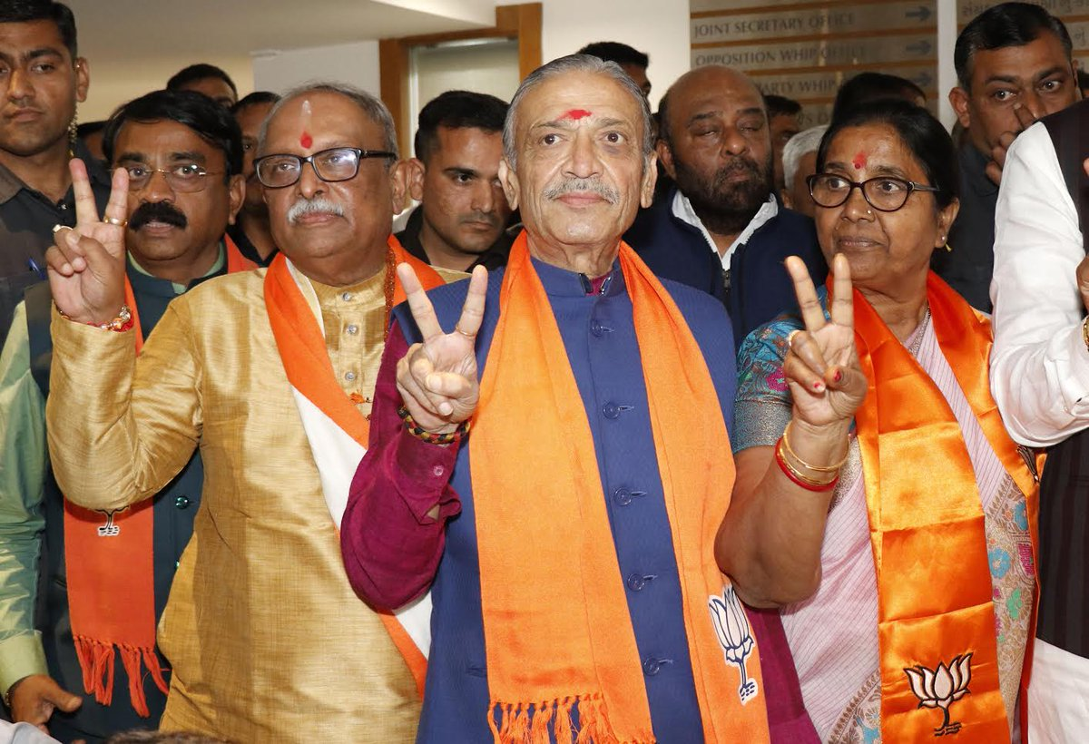 Gujarat Rajya Sabha election: 3 candidates of ruling BJP and 2 of main opposition congress file nomination papers
