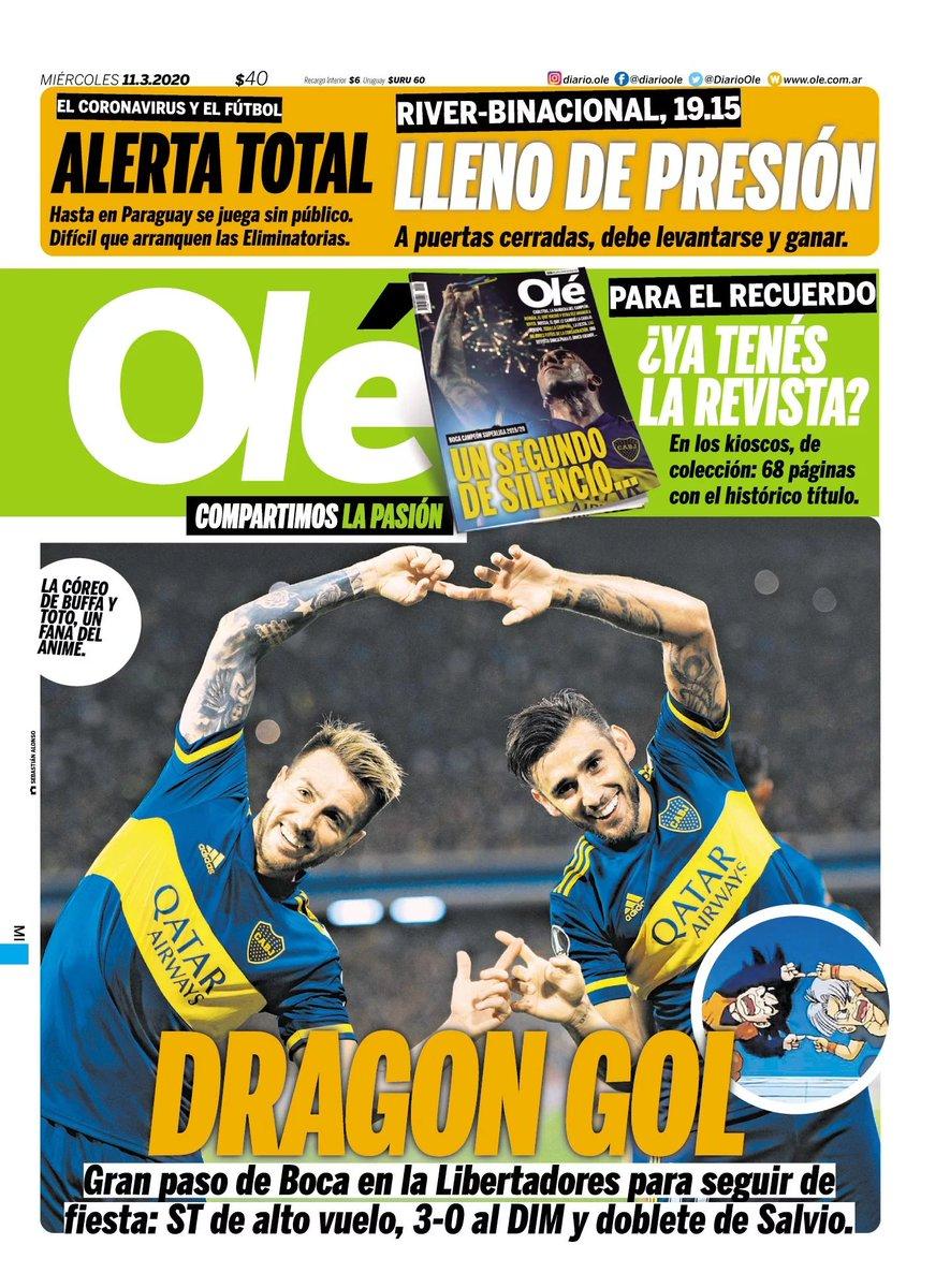¡#BOCA ES DRAGON GOL! ⚽️🔵🟡 📰 #LaTapaDeOle   Miércoles 11 de marzo