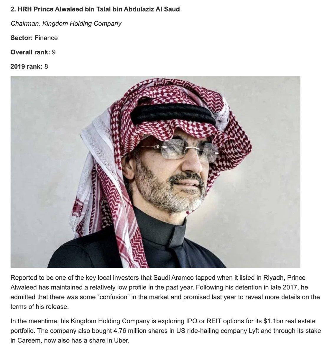 رئيس مجلس الإدارة صاحب السمو الملكي الأمير @Alwaleed_Talal ضمن قوائم @GulfBusiness: - اقوى ٥ شخصيات عربية بعالم المال لعام 2020 - اقوى ٥ شخصيات سعودية لعام 2020  The Chairman HRH @Alwaleed_Talal listed in 2020: - Top 5 most powerful Arabs in finance - Top 5 most powerful Saudis