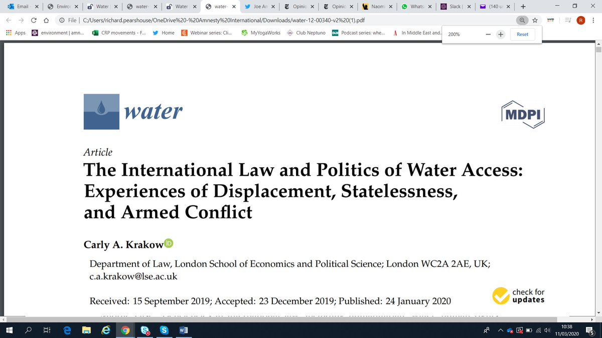 """Stateless/displaced persons and armed conflict zone residents are disproportionately impacted by lack of #water, yet uniquely vulnerable under international law."" #OPT #Syria #Yemen #PERAC"