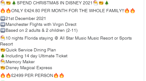 SPEND CHRISTMAS IN DISNEY 2021ONLY £424.80 PER MONTH FOR THE WHOLE FAMILY!!#Didsbury #Disney #Christmas #Florida #America #MemoryMaker #USApic.twitter.com/nlKnUgSmQH