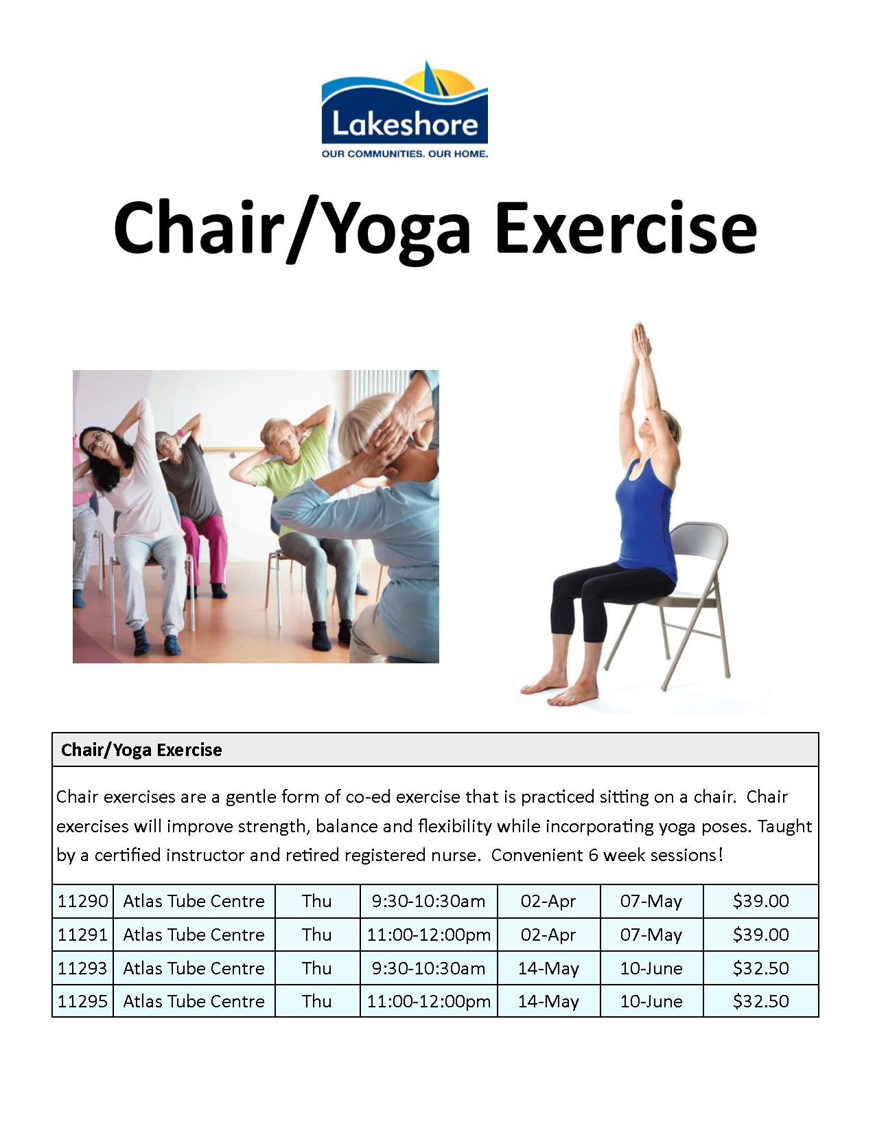 """Town of Lakeshore on Twitter: """"Chair exercises are a gentle form"""