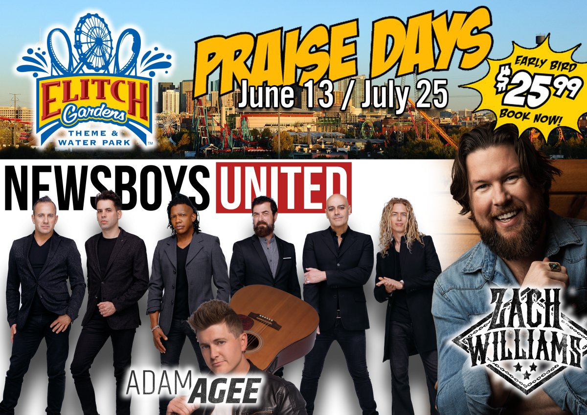 Book your #PraiseDay admission now at @ElitchGardens for a lower price!  Early Bird $25.99  Savings of $39 1 Free Chaperone Ticket with every 15!  Learn more: https://t.co/sFXHQ6l3Nw  @newsboys @adamagee @zachwilliams #ThemePark #WaterPark #DayOut #Vacation #Fun #Live #Christian https://t.co/DKe3ElatZO