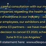 世界最大のゲームショウE3 2020の開催中止が決定・・・