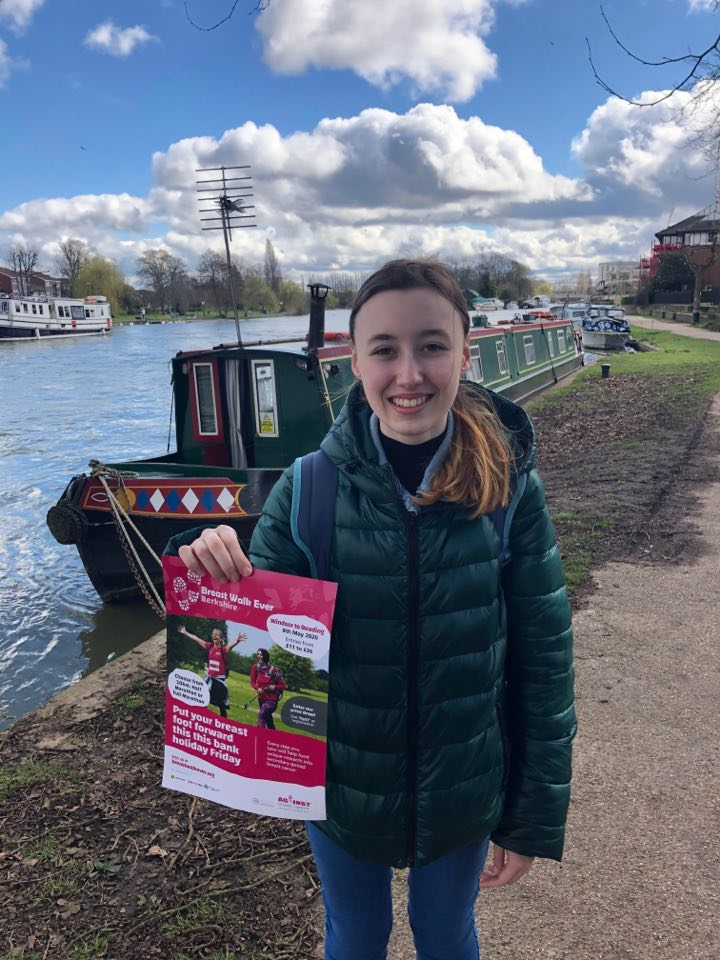 Today we spent the day in #Reading & #Henley! Spreading the word about Breast Walk Ever #Berkshire, with our amazing volunteer Lucy 🎗️ #breastwalkever #againstbreastcancer #breastcancer #signuptoday #charitywalk #dogfriendly #putyourbreastfootforward