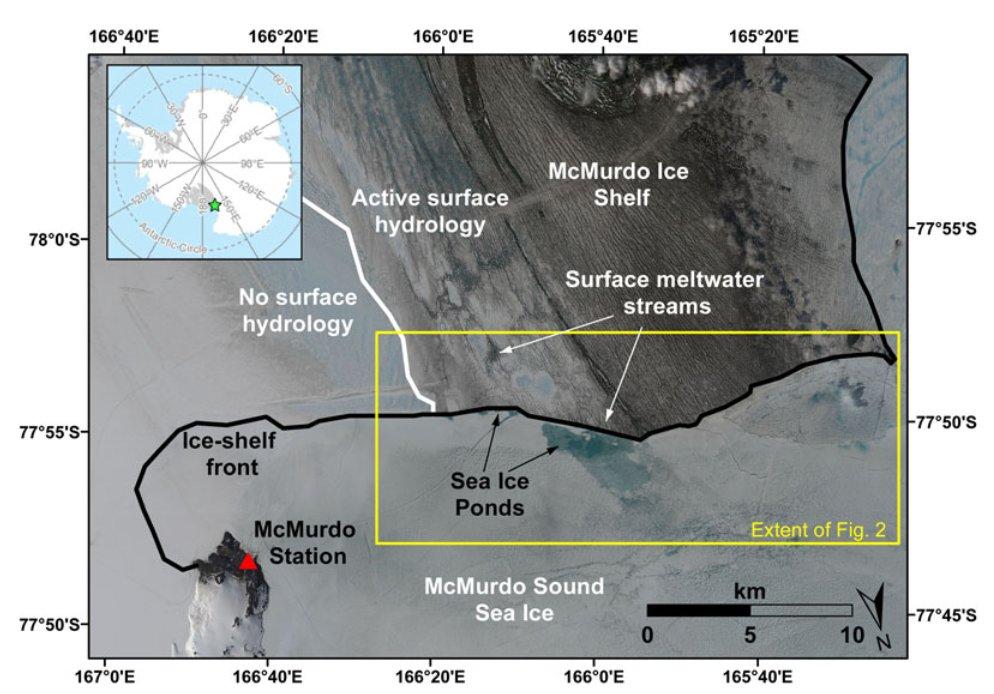 """Formation of sea ice ponds from ice-shelf runoff, adjacent to the McMurdo Ice Shelf, Antarctica"" by G Macdonald, P Popović & D Mayer is now available in ANN GLACIOL on https://doi.org/10.1017/aog.2020.9… @geogeordie @GeoSci_UChicago @USGS_AstroGeo @IGS2019 #antarctic #seaicepic.twitter.com/ZQx9nM8VMk"