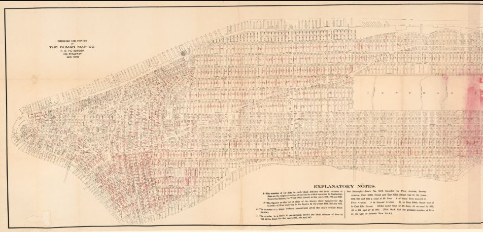 We found a mystery in this 1915 fire chart of #newyorkcity! Read about how we solved this burning question in our latest blog post! Read all about it here: go.usa.gov/xd6RU