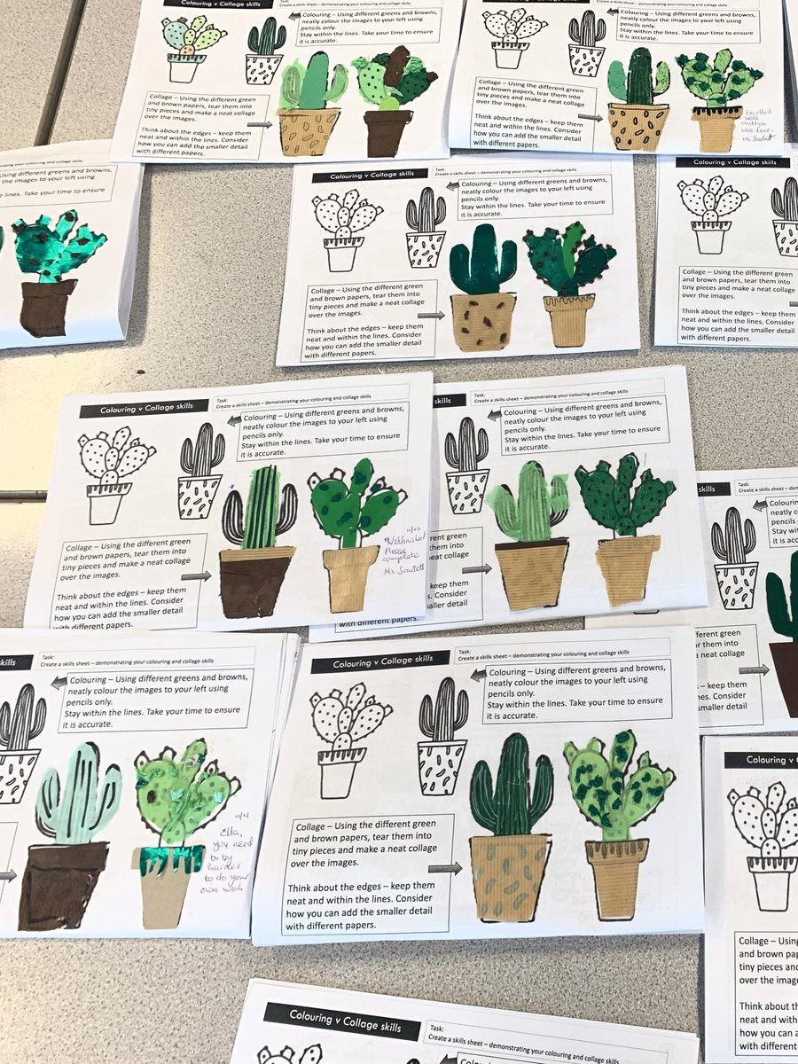Yr 8 Textiles smashing through their Cacti project, experimenting with collage and papers today. Looking forward to seeing their appliqué phone cases over the next few weeks @nieperacademy #newtechniques pic.twitter.com/vAtK6p6q0B