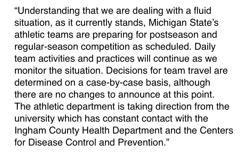 Statement from MSU athletics on current travel situations.