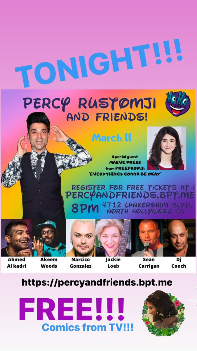 "TONIGHT COMICS FROM @CBS @YandR_CBS and @FreeformTV @EverythingsOkTV FOR FREE! ""Percy and Friends"" 8PM @Hahacafecomedy  https://percyandfriends.bpt.me  #freeform #thingstodoinla #thingstodoinhollywood #freeshow #nightout #la #noho #northhollywood #cbs #theyoungandtherestless #soapoperapic.twitter.com/zqw3TJRq6X"