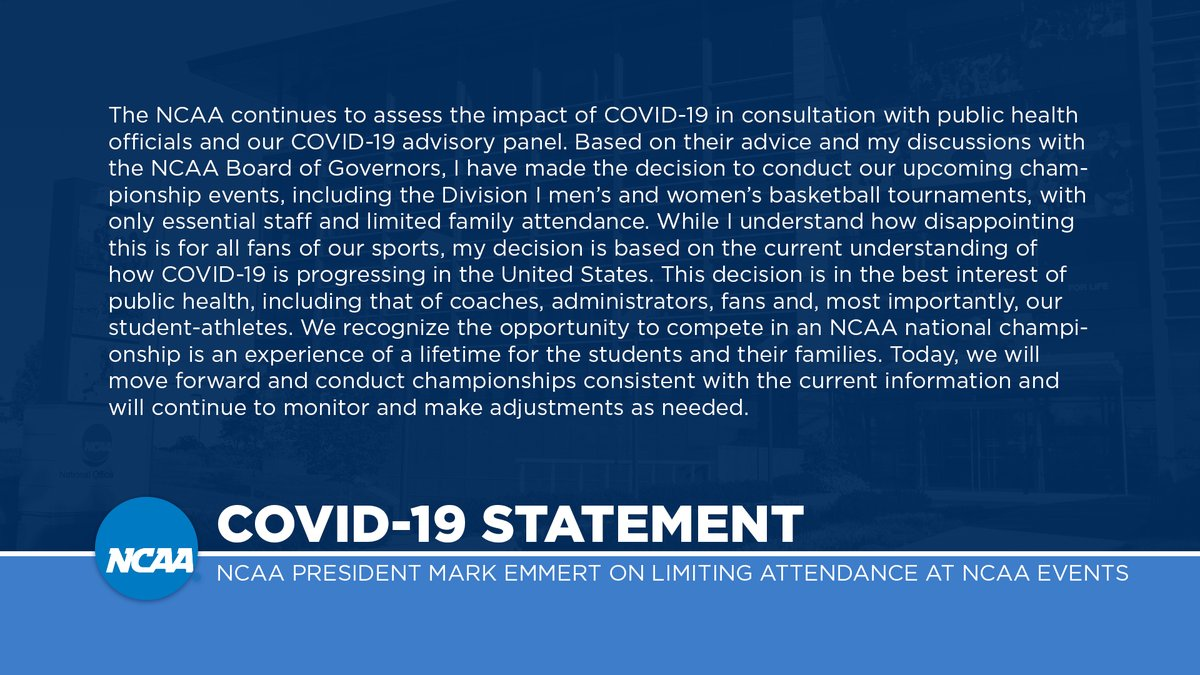 NCAA President Mark Emmert statement on limiting attendance at NCAA events: on.ncaa.com/gabyq