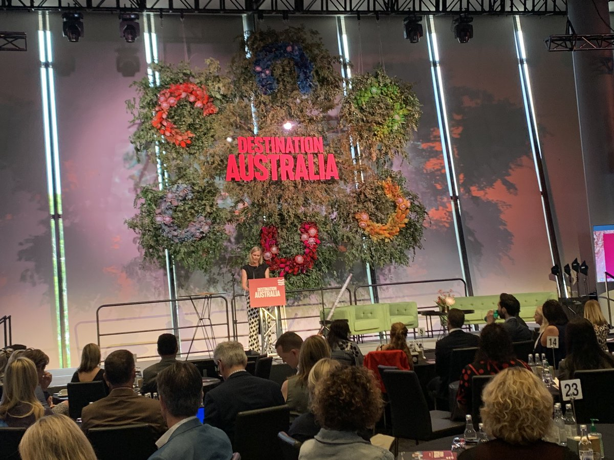 A great start to the day at #DestAus20 at @TheAdelaideOval in @VisitAdelaide. Great choice in emcee with @KatrinaLWebb a great welcome to country by Major Sumner, Ngarrindjeri/Kaurna Elder and a positive presentation by @Birmo Minister for trade, tourism and investment. #tourism https://t.co/M1r6JO0PTv