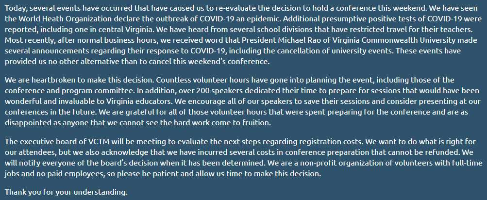 We are devastated to make the decision to cancel #VCTM2020.