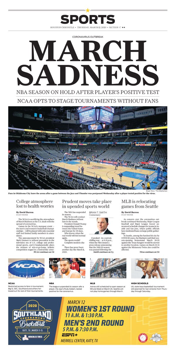 Thursday's @HoustonChron Sports cover: NBA season on hold after player's positive coronavirus test; NCAA opts to stage tournaments without fans https://t.co/iaCIp3c6Jv