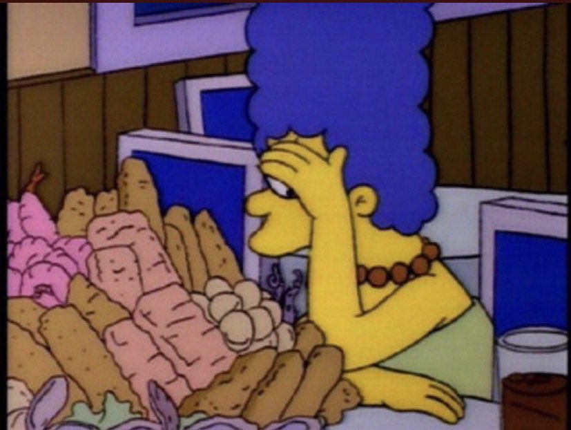 """reactions on Twitter: """"marge simpson hiding by fried foods… """""""