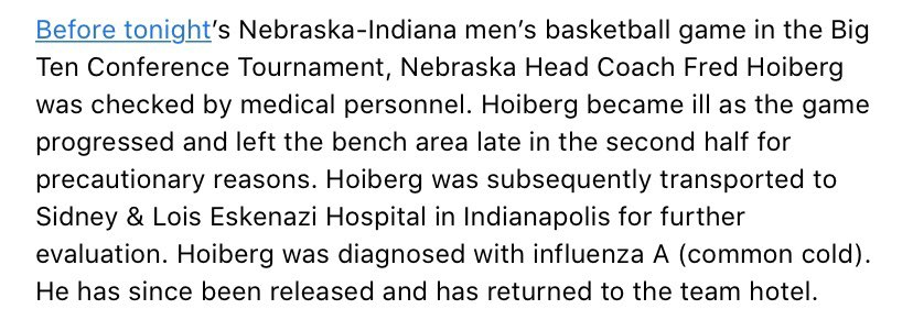 Update on Head Coach Fred Hoiberg