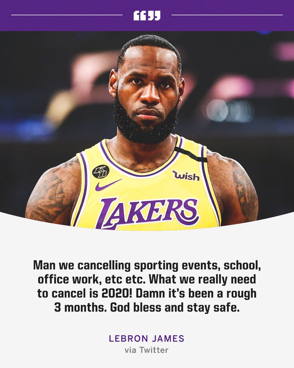 Espn On Twitter Kingjames Reacts To The News Of The Nba Season Being Suspended Indefinitely