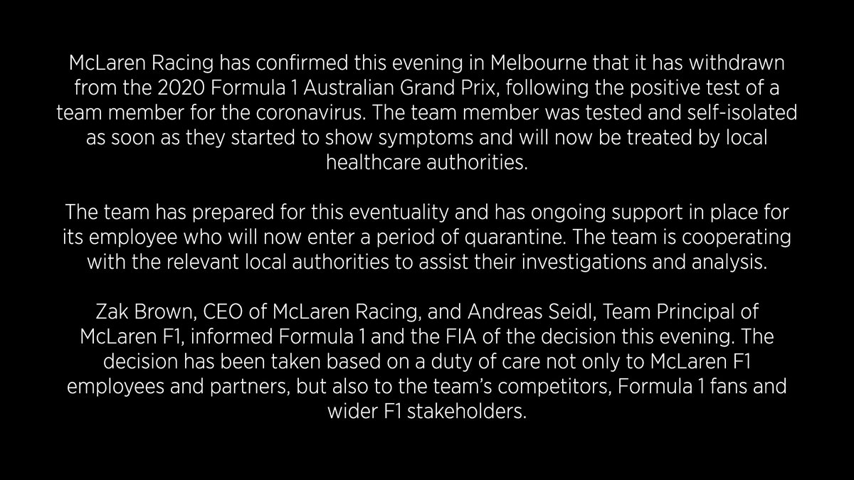 McLaren Racing withdraws from the 2020 Formula 1 Australian Grand Prix. https://t.co/BZvHVKQoev