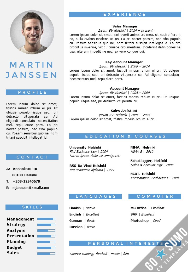 Go Sumo Cv Template On Twitter Modern Resume Template In