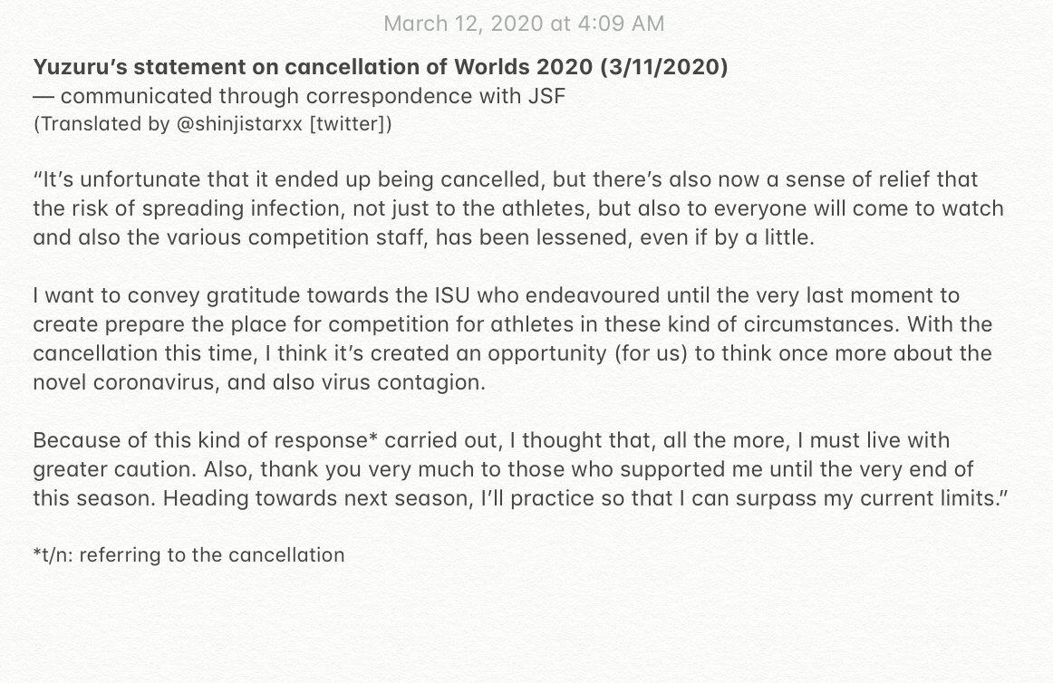 Quick translation of yuzuru's comments re: cancellation of #Worlds2020 (conveyed through JSF) ! #YuzuruHanyu #WorldFigure <br>http://pic.twitter.com/cgGSgV1HP6