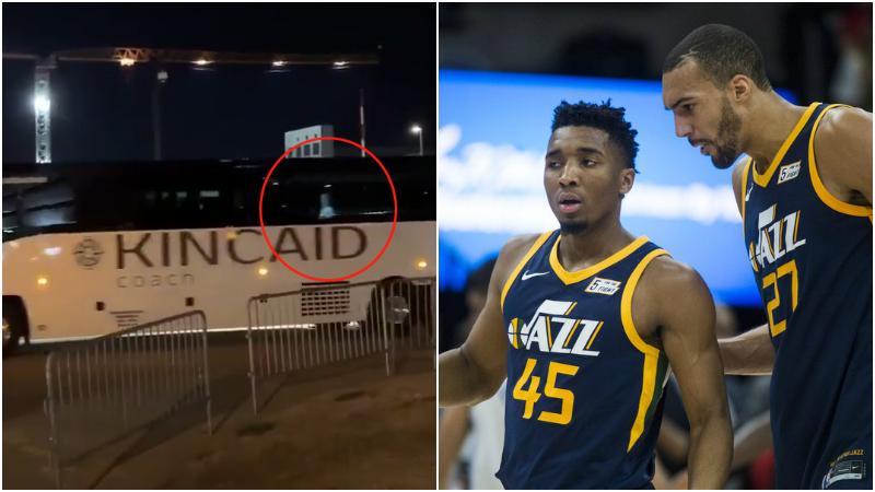 【影片】爵士球員已乘坐大巴離開球館,Mitchell與記者揮手道別,看起來心情不錯!