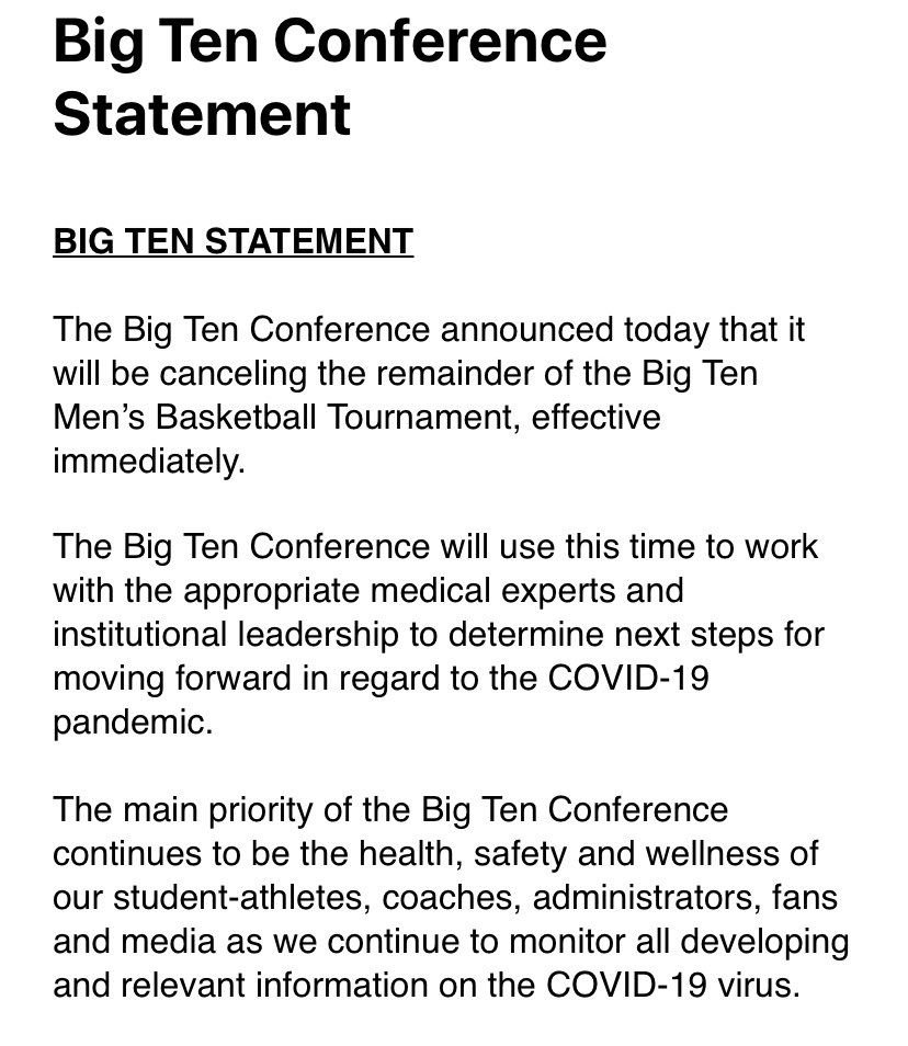 Big Ten statement on cancellation of tournament.