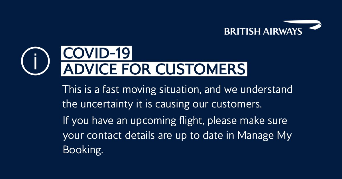 We understand the uncertainty #COVID19 is causing our customers. If you have an upcoming flight, please make sure your contact details are up to date at https://t.co/FQP5pHvqUw https://t.co/BhJKSv8BIi