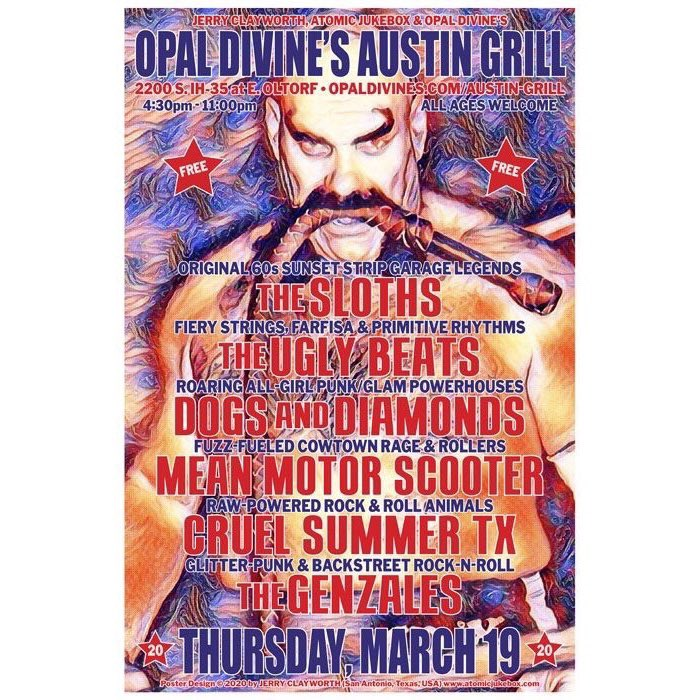 Next week is going to be busy —> Thursday, March 19th Jerry Clayworth, Atomic Jukebox, & Opal's Austin Grill Stage present an unbelievable  music lineup. (4:30pm to 11:00pm) All ages welcome.  #do512 #atxliving #austinfood #austininmymouth #eatingatx #liveentertainmentatxpic.twitter.com/kZFqrLTVEq