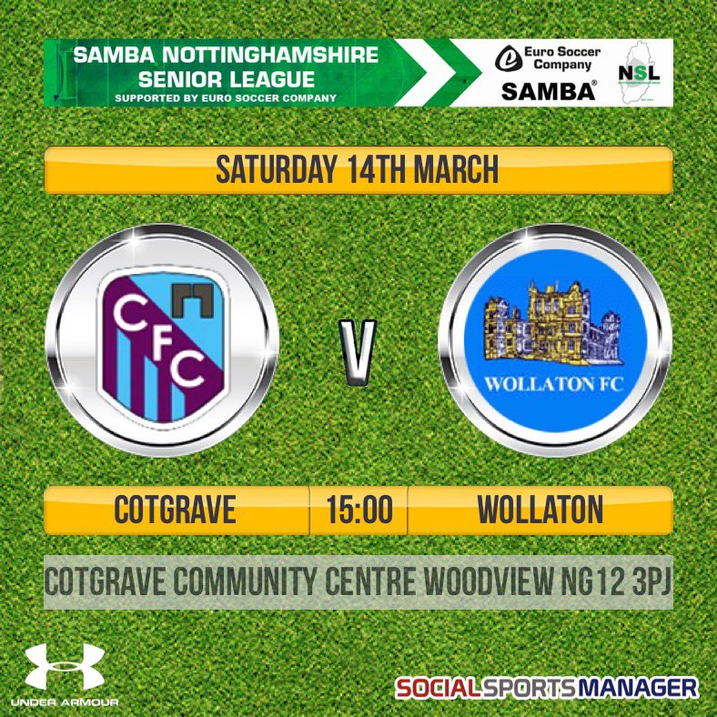 This weekend our 1st travel to @cotgrave_senior with a 3pm kick off. #cmonyousugarbags #UTWpic.twitter.com/qTcXrRCCjF
