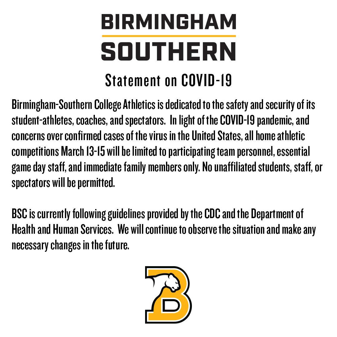 Birmingham-Southern Athletics Statement on COVID-19 ow.ly/rpDI50yK9yR