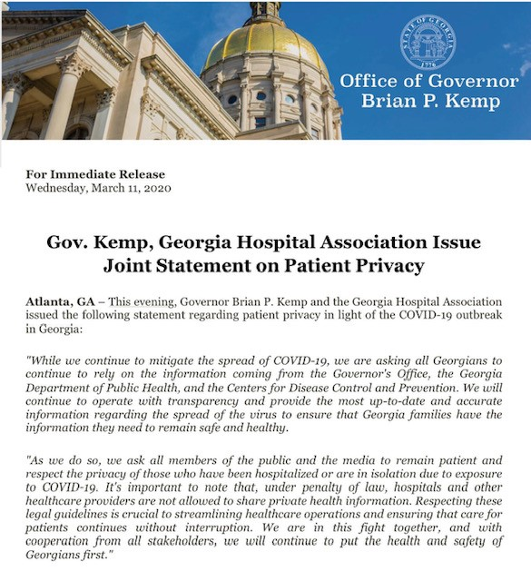 Please take a moment to review this press release from @GovKemp.
