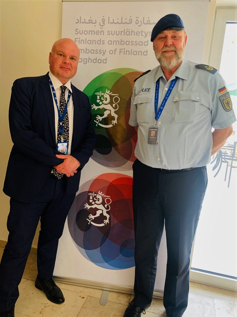 Had a fruitful meeting with @BuikChristoph, New Head of Mission of @EuamIraq, at the Finnish Embassy in #Baghdad, #Iraq.   Fact: counting personnel, #Finland is the biggest country contributing to the #EUAM.   As you see, no handshaking. It is pretty difficult... Photo: EUAM 🇪🇺🇫🇮 https://t.co/EcYnva61DN