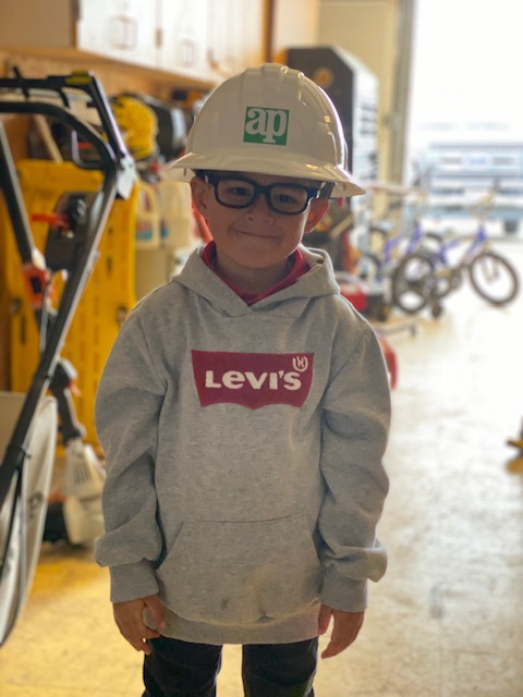 Hard hat and safety glasses.... he's ready to hit the jobsite! #APFamily