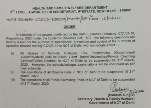 To control the outbreak of covid19, all educational institutions, cinema halls and public swimming pools are closed till 31 March in Delhi.