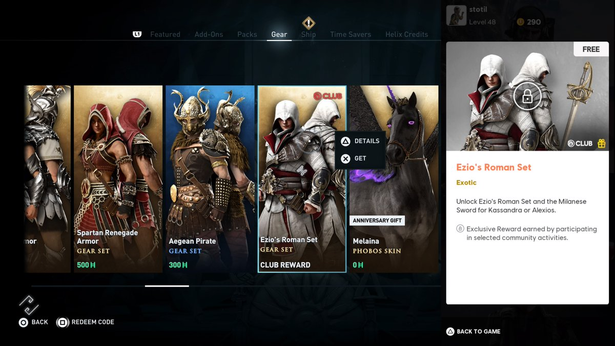 Stephen Totilo On Twitter Here S Assassin S Creed Odyssey S Kassandra And Alexios Dressed As Acii S Ezio Just Added To The Game S Gear Menu Unclear At This Point How To Unlock The Outfit Https T Co Xvicnlppf4