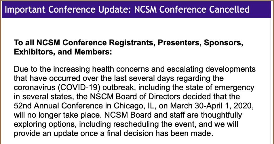 NCSM Members, NCSM is CANCELLED: