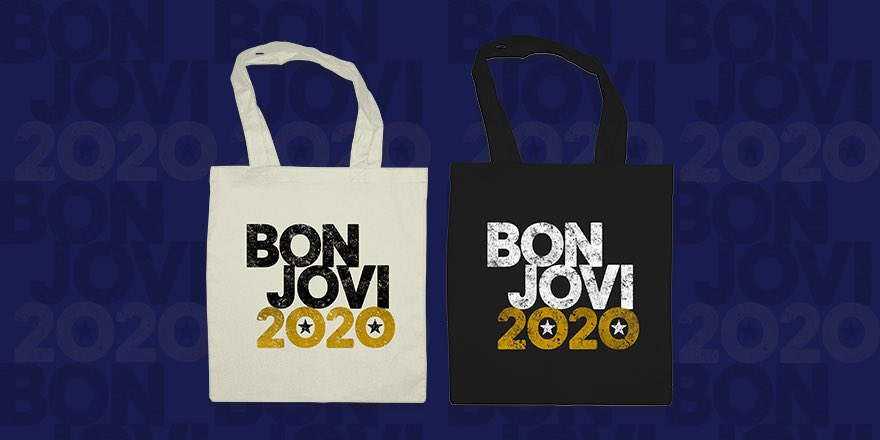 #BonJovi2020 tote bags are now live in our store. Shop at bonjovishop.com.