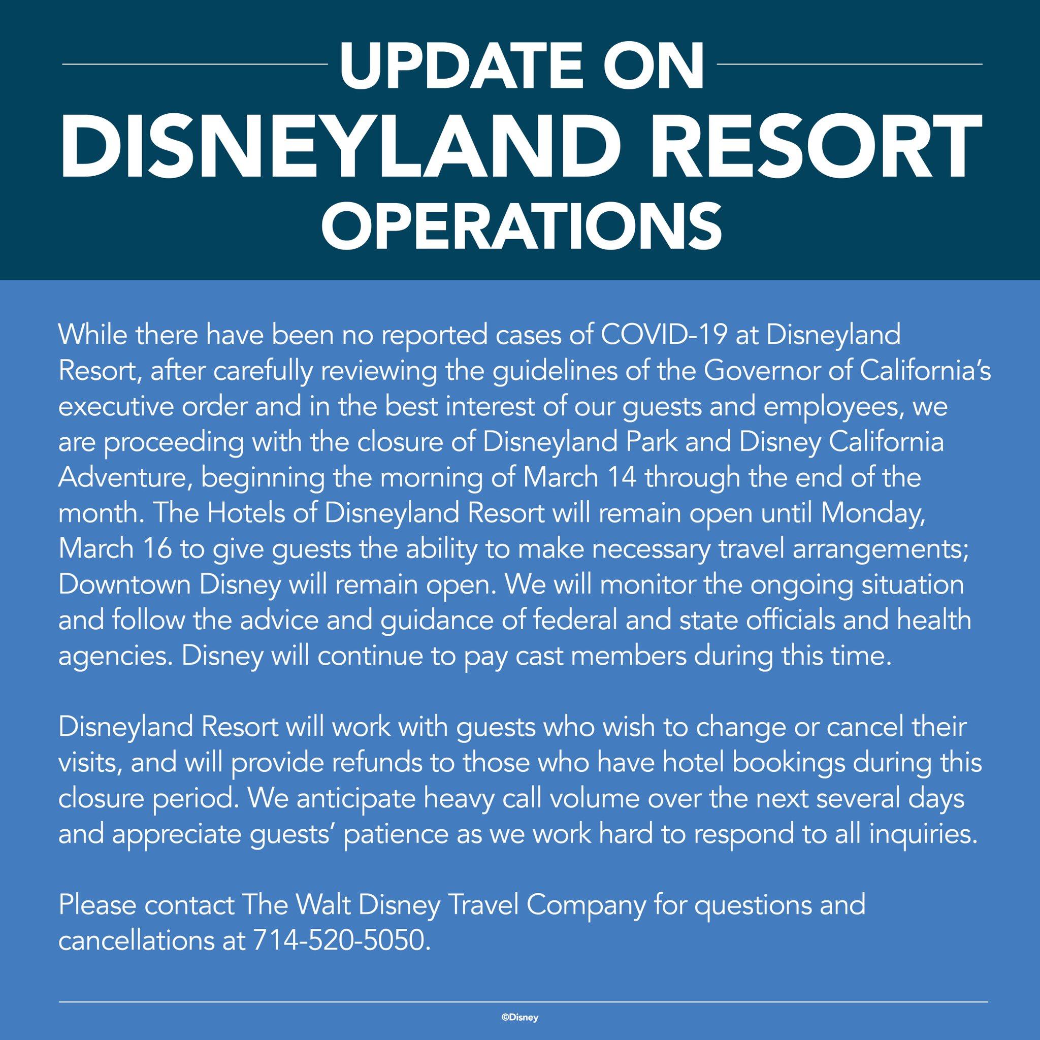 Disneyland Closing for Coronavirus