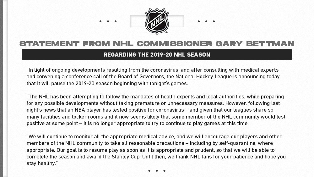 The @NHL pauses 2019-20 season. media.nhl.com/public/news/13…