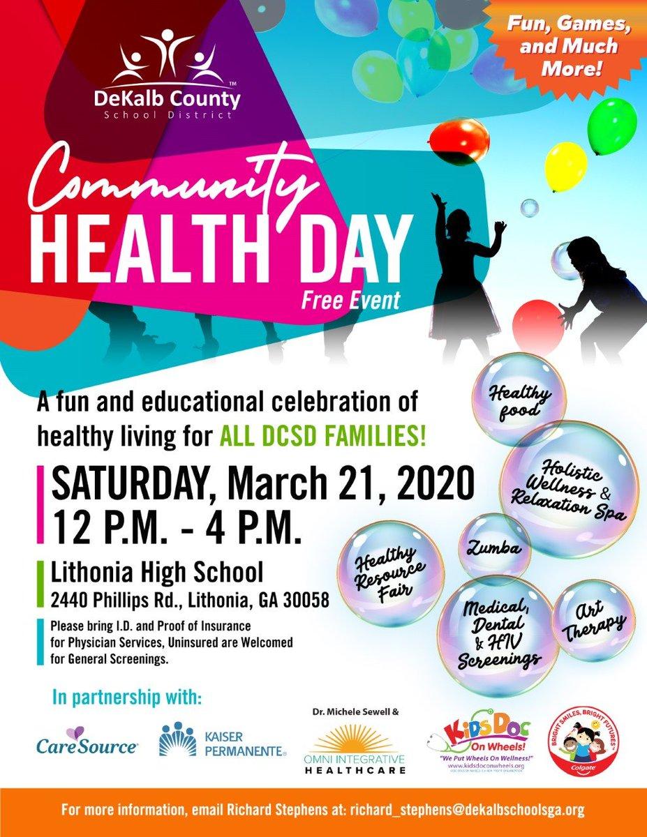 Community Health Day, FUN Day - Saturday, March 21st - Lithonia High School!