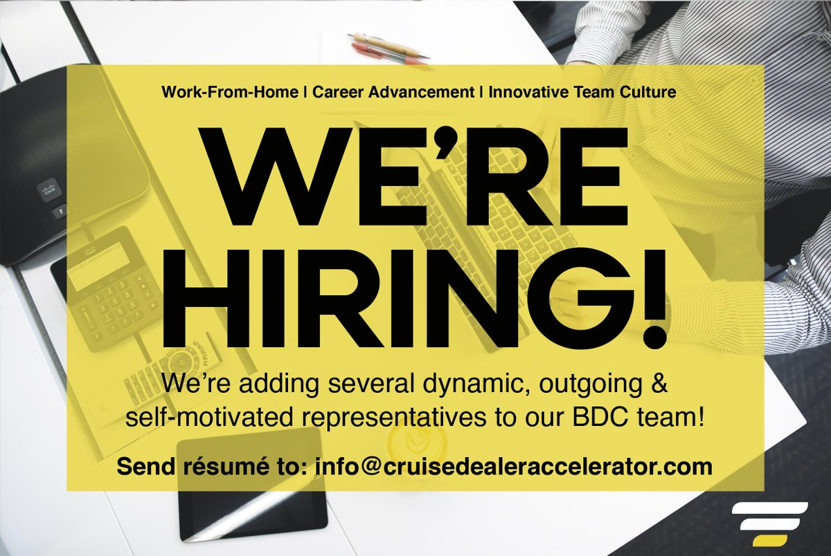 Are you looking for an environment that thrives on innovation and new ideas? 💡 Do you want to work from the comfort of home? 🙋We are hiring in WINNIPEG! Send your resume to info@cruisedealeraccelerator.com #winnipeg #jobopening #Manitoba #WorkFromHome https://t.co/KY2CMtSOtF