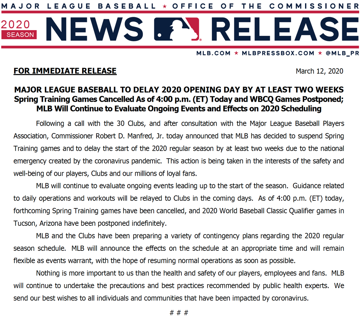 """MLB Communications on Twitter: """"2020 Opening Day to be delayed by ..."""