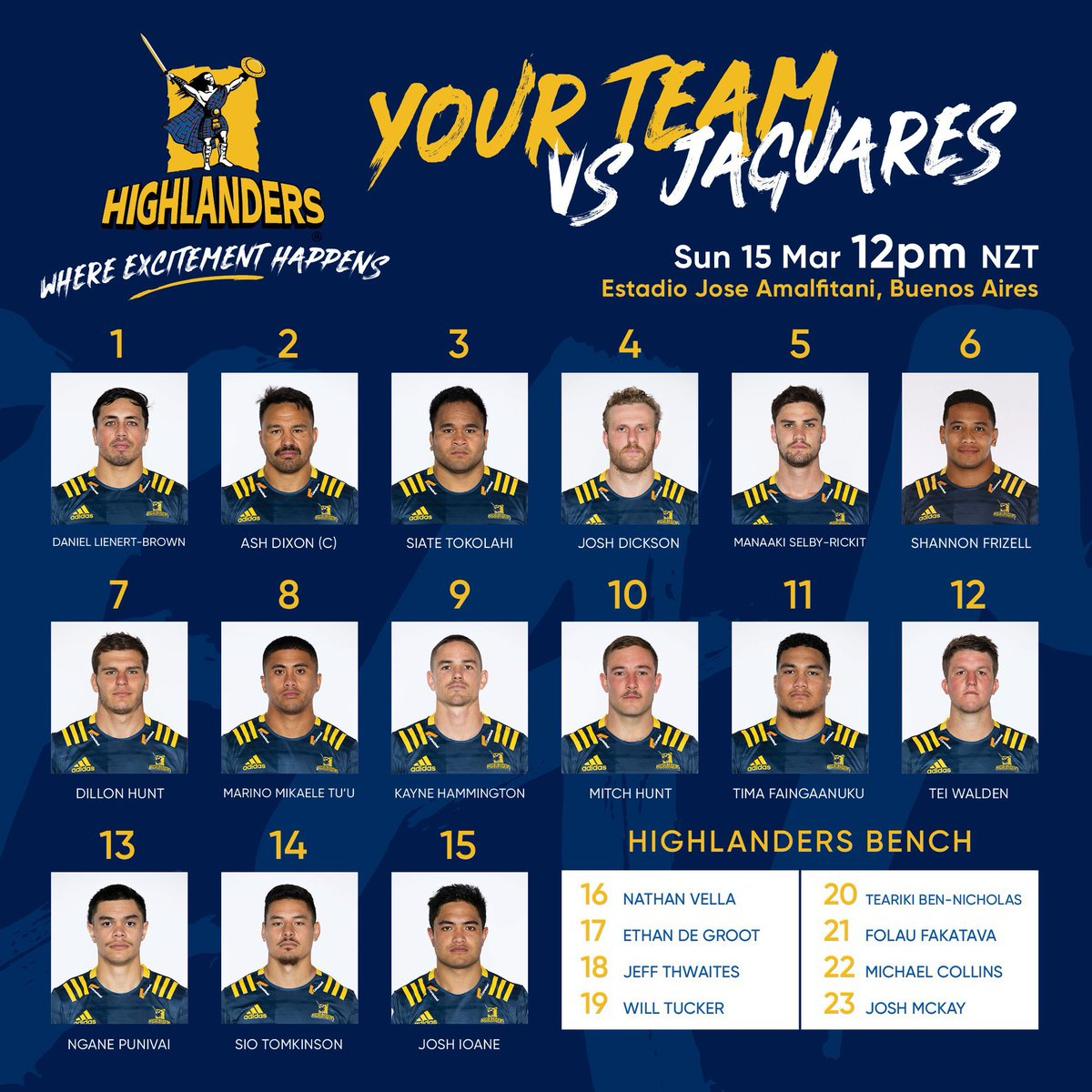 🚨TEAM ANNOUNCEMENT 🚨 Your Landers side to take the @JaguaresARG in Buenos Aires on Sunday! Kick off 12pm (NZT) Tune in to @skysportnz for coverage #WhereExcitementHappens #JAGvHIG #landersontour